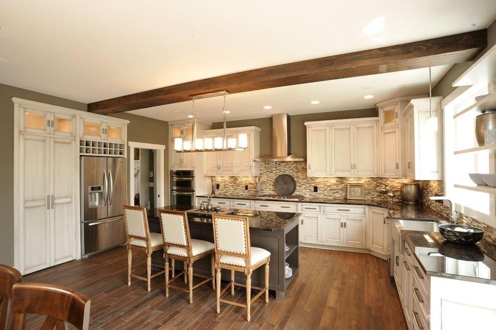 美式风格70平米两室一厅敞开式厨房装修效果图