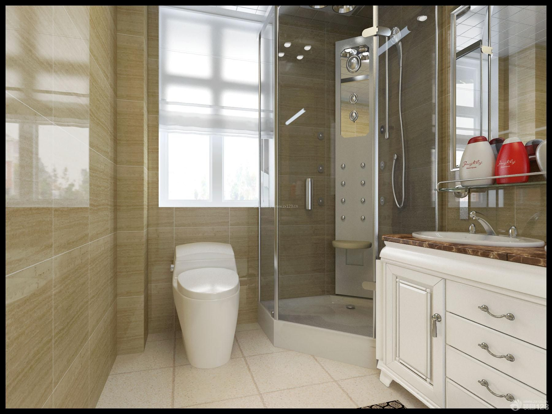简欧风格卫生间淋浴隔断装修效果图
