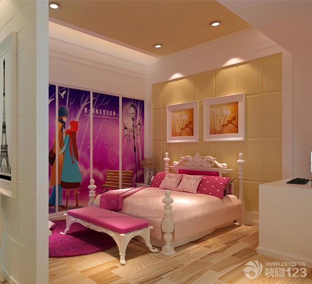 简欧式86平米两室一厅女生卧室装修效果图