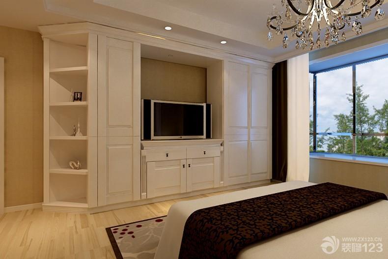 简约家装设计110平方三室一厅两卫卧室电视背景墙造型装修效果图图片图片
