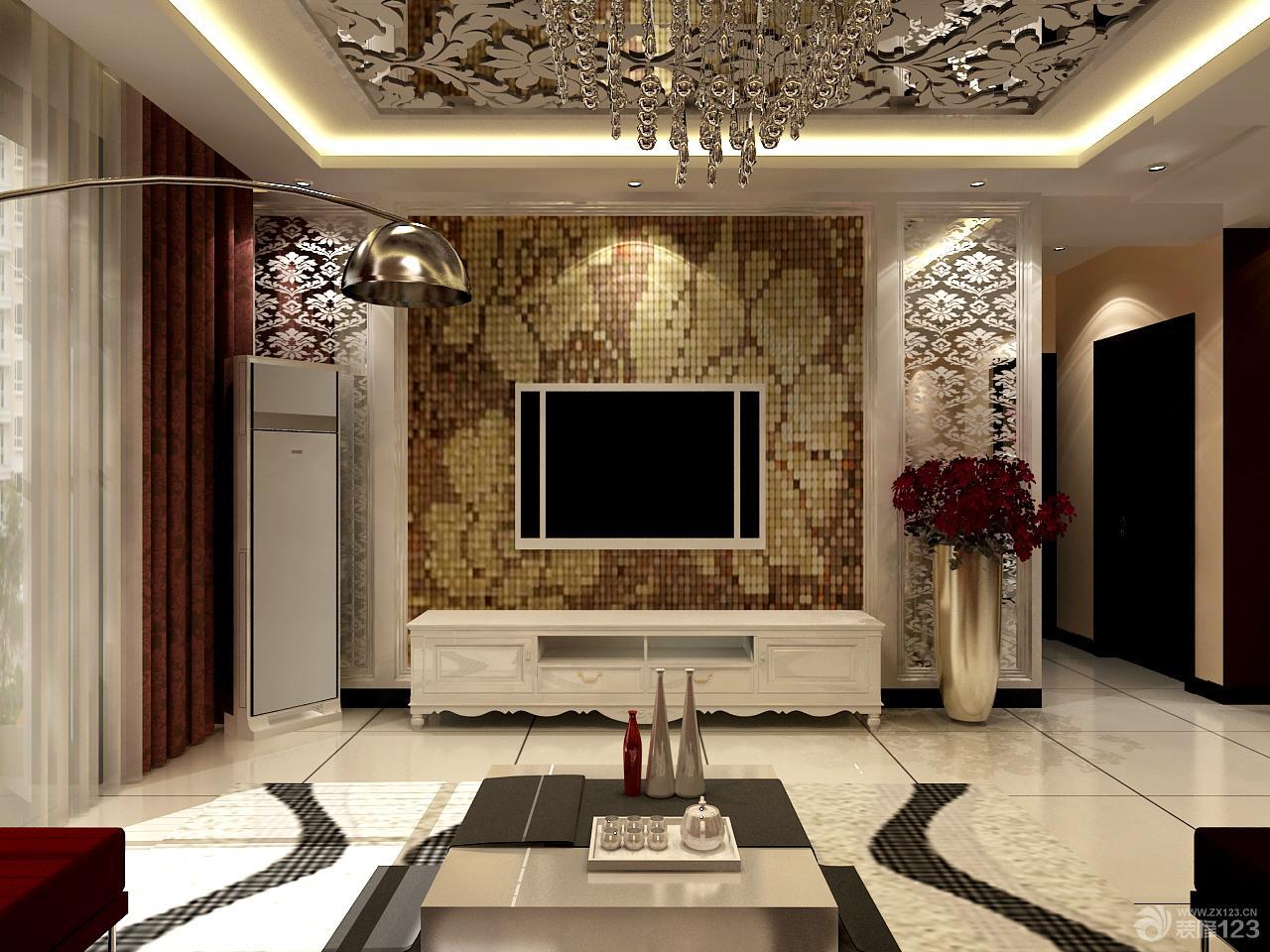 马赛克水银镜喷花电视背景墙效果图