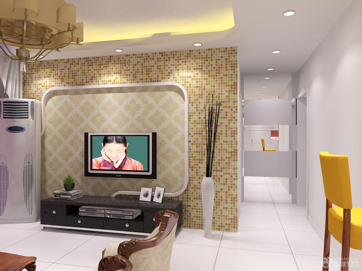 客厅电视背景墙马赛克与墙纸设计图