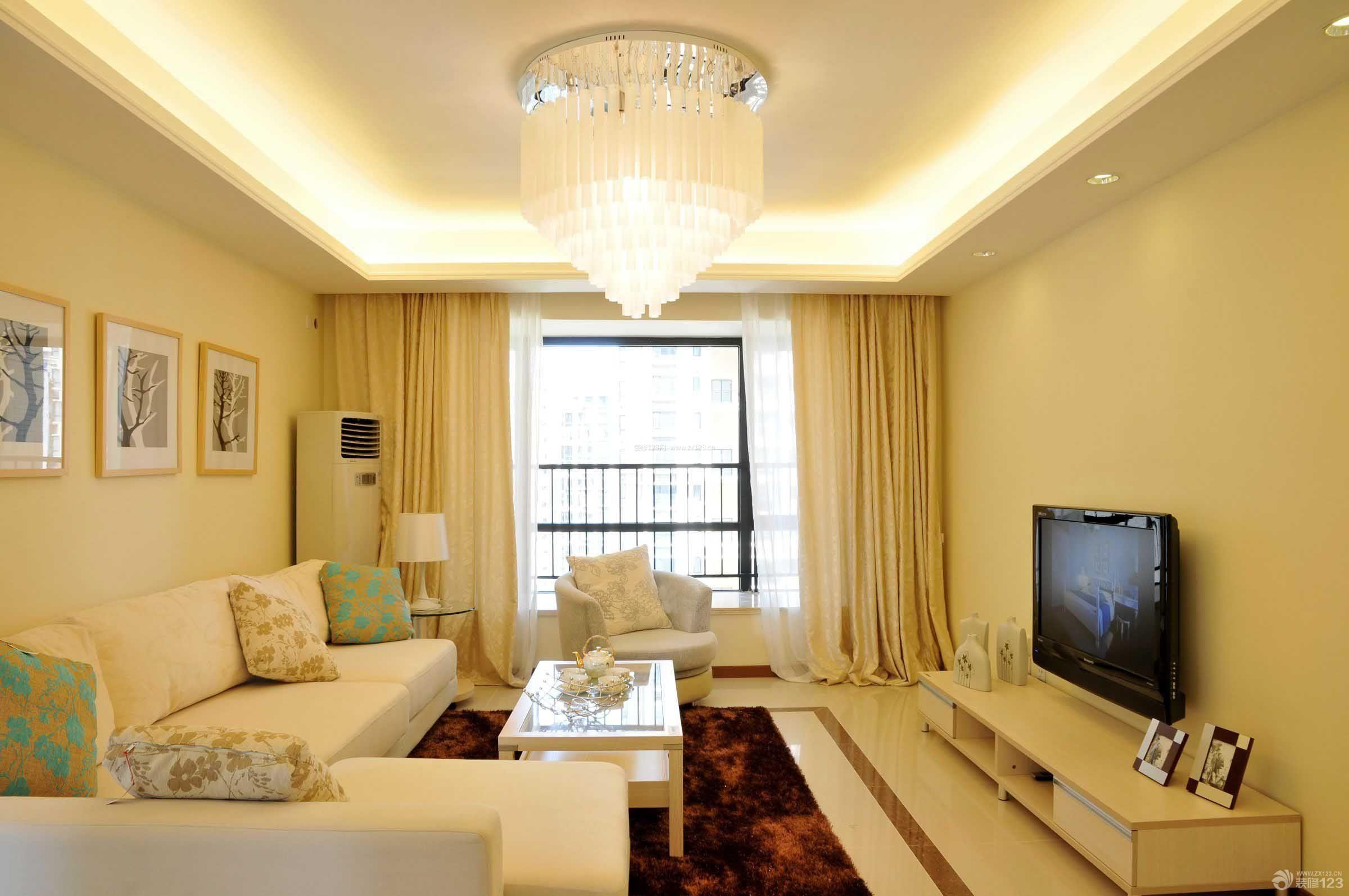 现代简约风格90平米三室一厅两卫家装客厅装修设计效果图