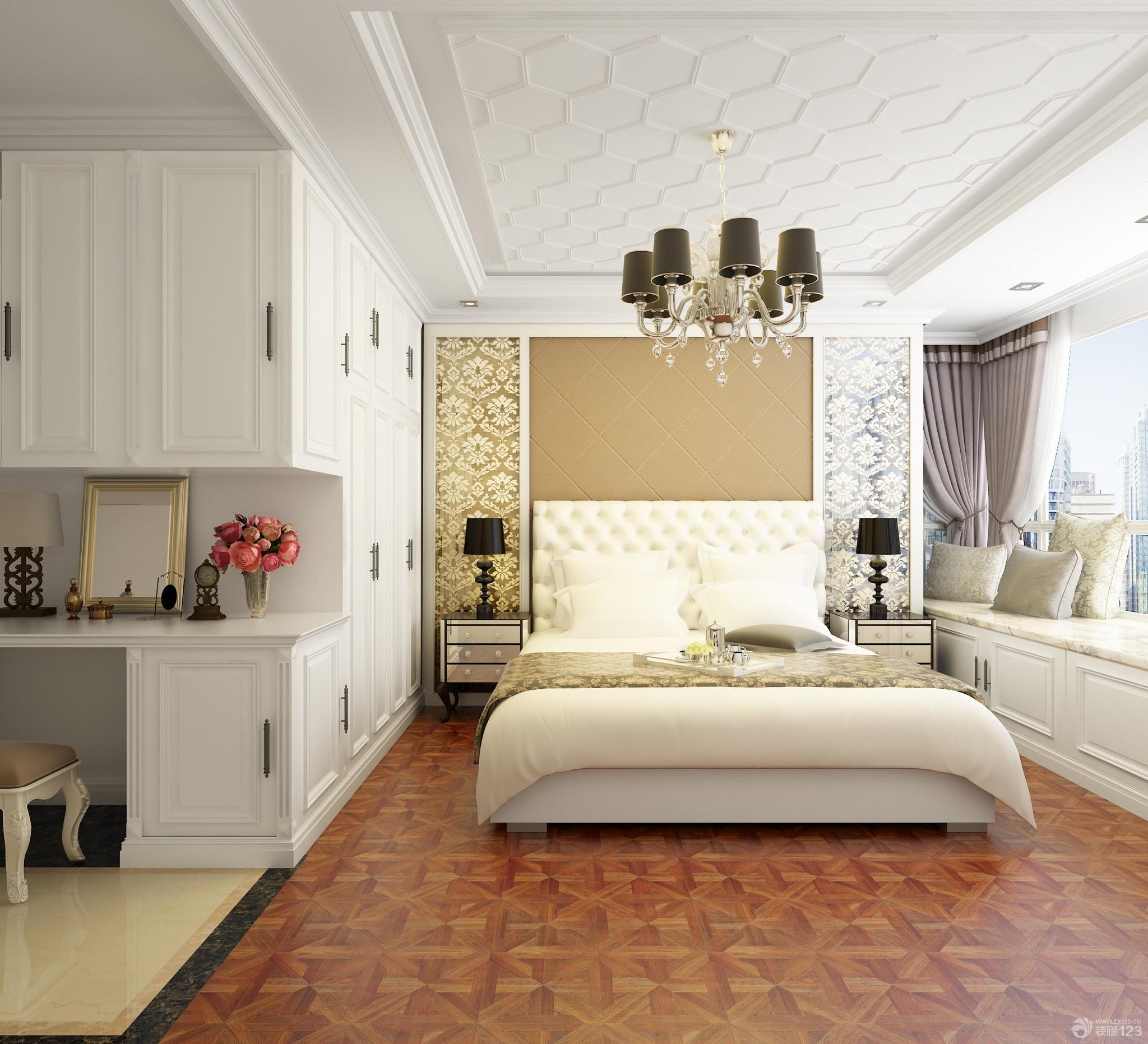 简约欧式风格80平米房子两室一厅一卫主卧室装修效果