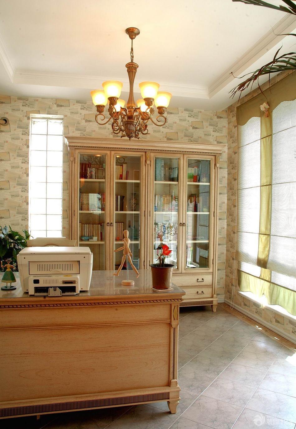 简约欧式风格80平米房子三室一厅两卫家庭书房装修图