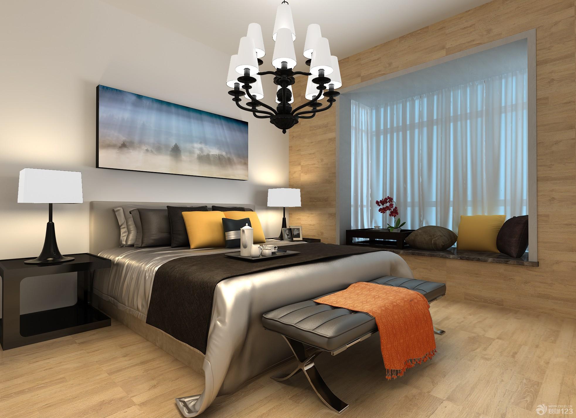 時尚簡約80平米三室一廳主臥室裝修效果圖
