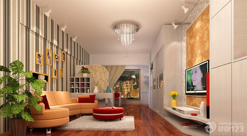 70平米两室一厅简欧式客厅装潢设计效果图