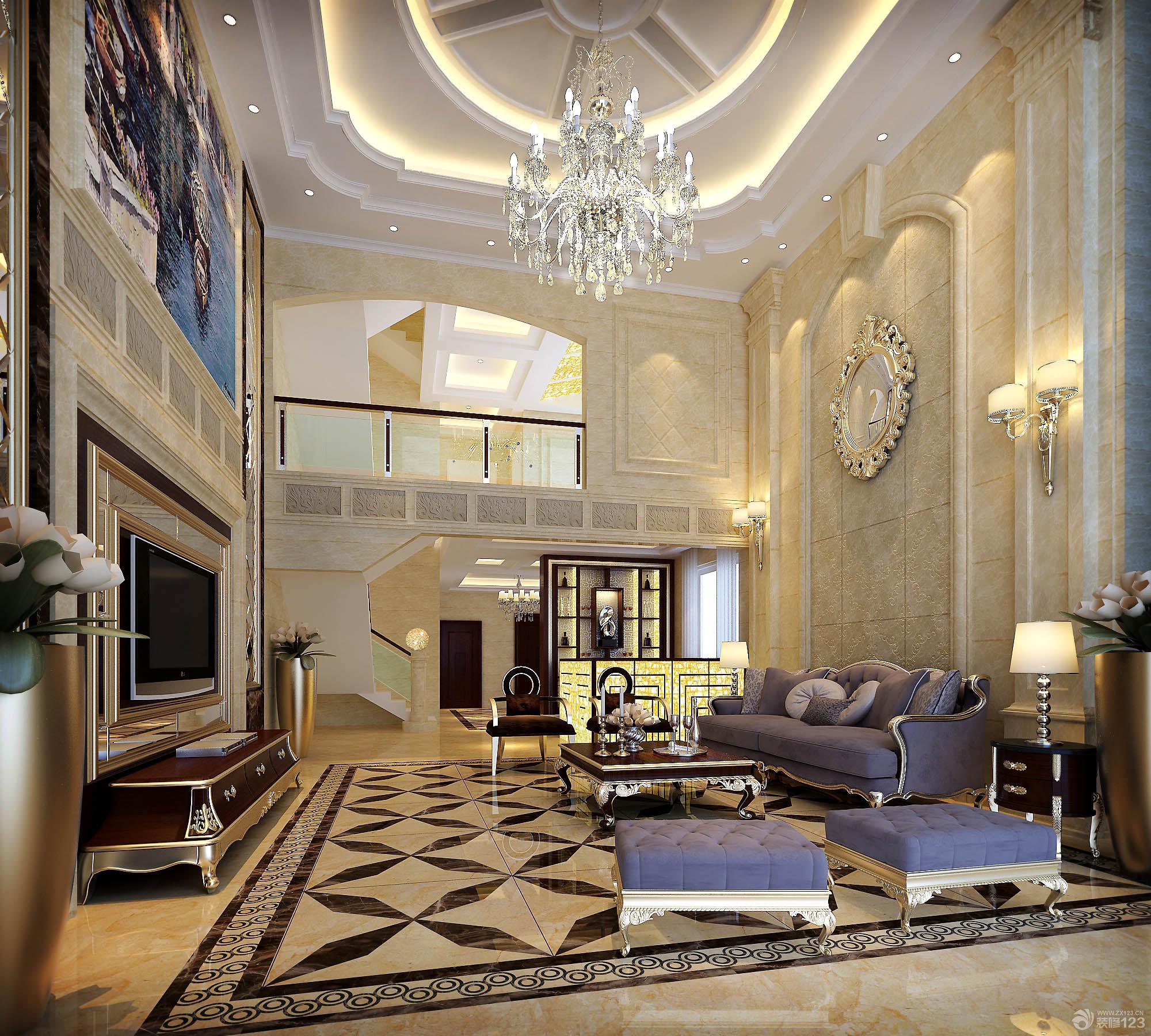 时尚欧式别墅客厅装饰效果图片