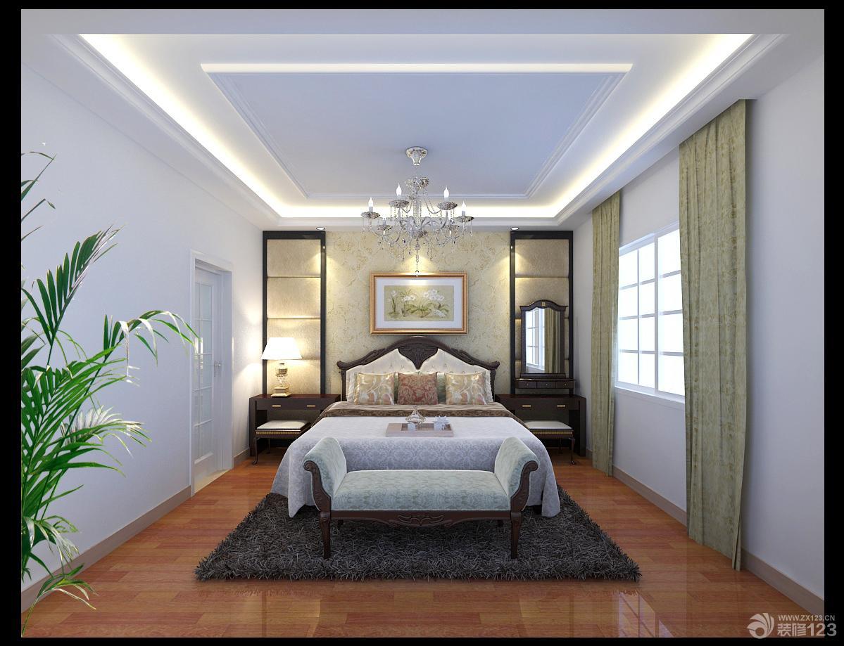 时尚现代风格大卧室仿木地板地砖装修效果图