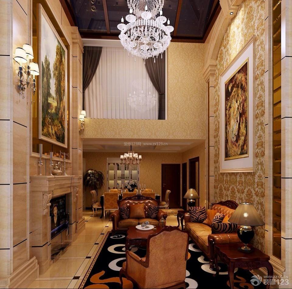 欧式复式房挑高客厅吊顶装修效果图