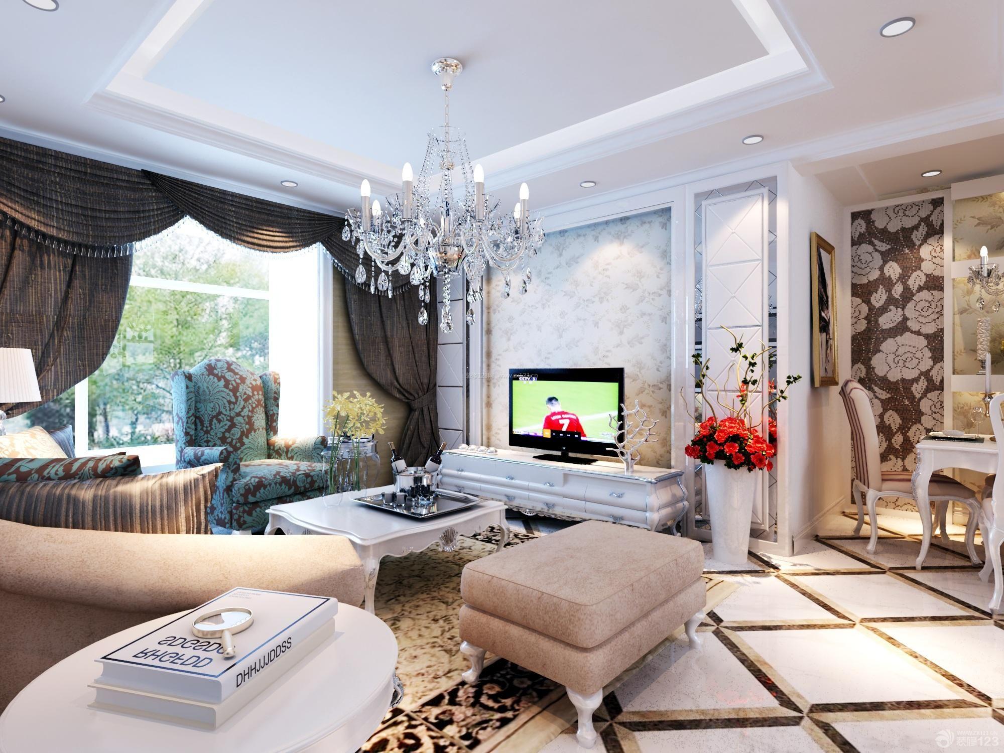 欧式客厅吊顶水晶灯装修效果图图片