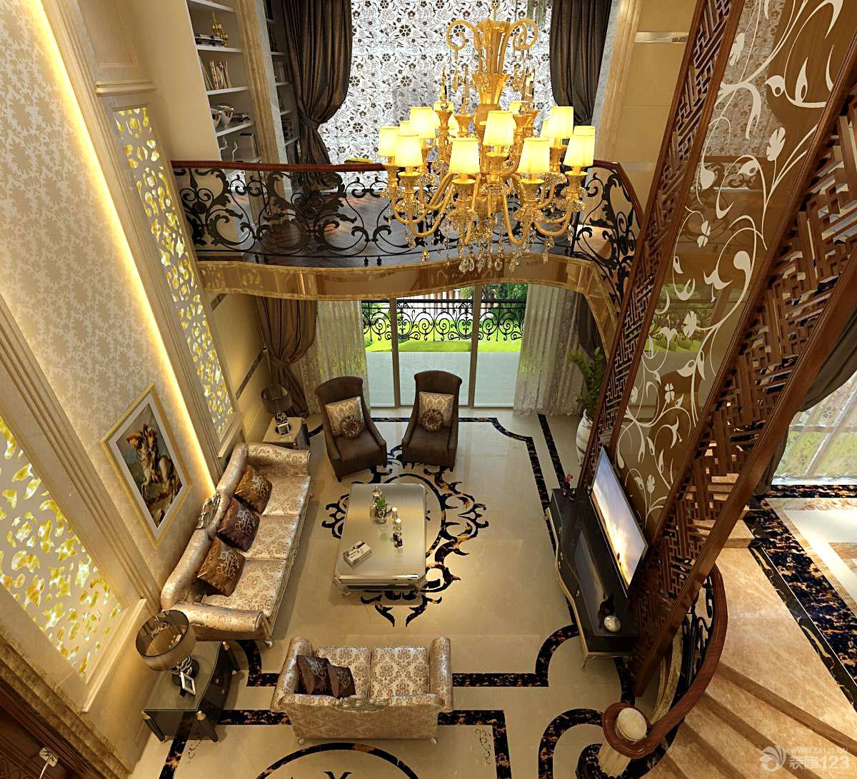 欧式挑高客厅吊顶小复式楼装修效果图