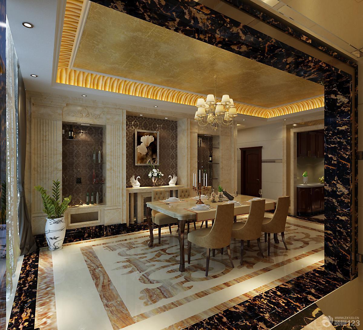 餐厅装修风格大理石拼花地砖效果图图片