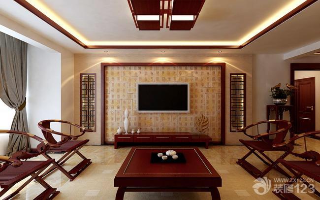 新中式实木家具客厅影视墙装修效果图图片