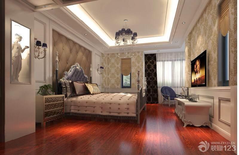 欧式别墅主卧室红木色木地板装修效果图