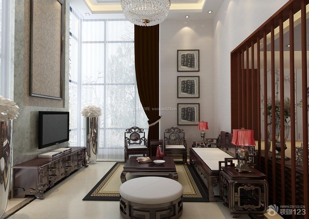 新中式家装挑高客厅装修效果图_装修123效果