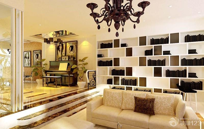别墅客厅书柜图片
