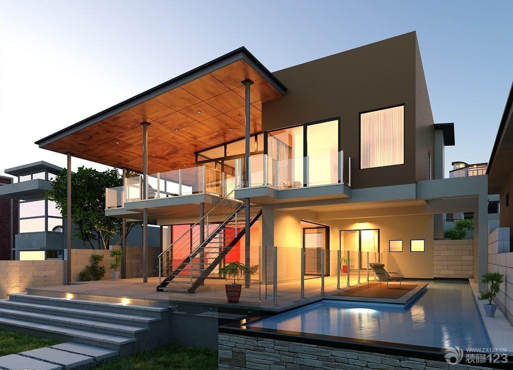 现代风格时尚别墅外观装修设计效果图