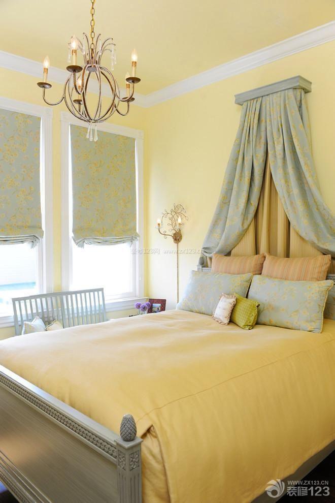 最新田园混搭小户型婚房卧室墙壁颜色效果图