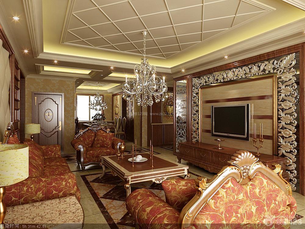 欧式家装设计客厅影视墙效果图