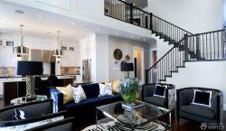 黑白搭配復式樓客廳裝修效果圖