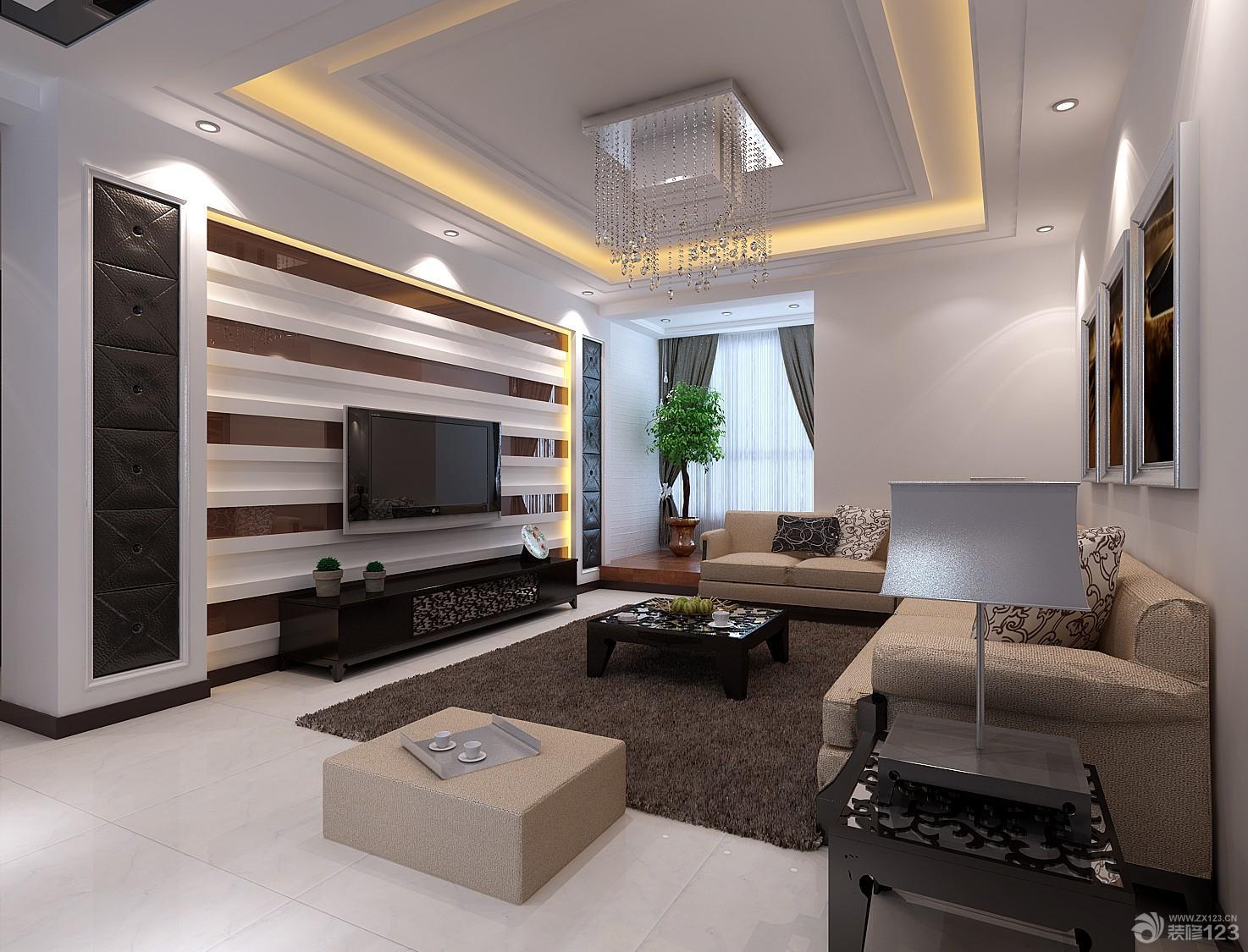 时尚复式楼客厅电视背景墙装修设计效果图