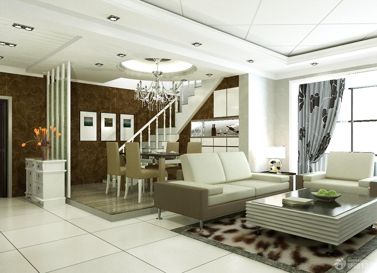 现代时尚复式楼客厅餐厅一体装修设计效果图图片