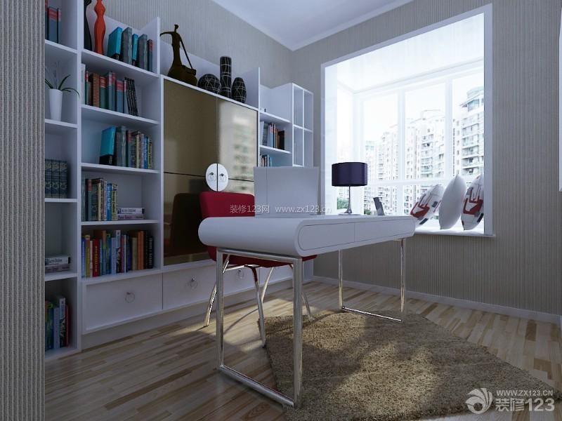 家庭客房设计图-典书房装修书柜设计图片-创意家居书房兼客房壁柜装修实景图 图片