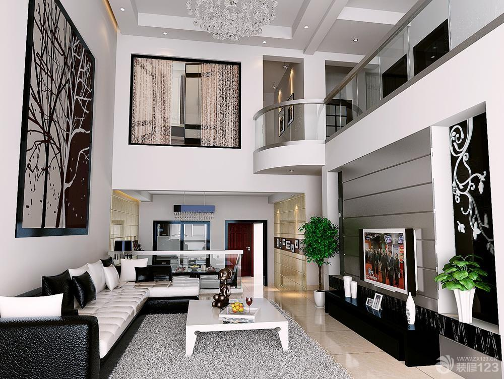 140平时尚挑高复式楼客厅装修设计效果图图片