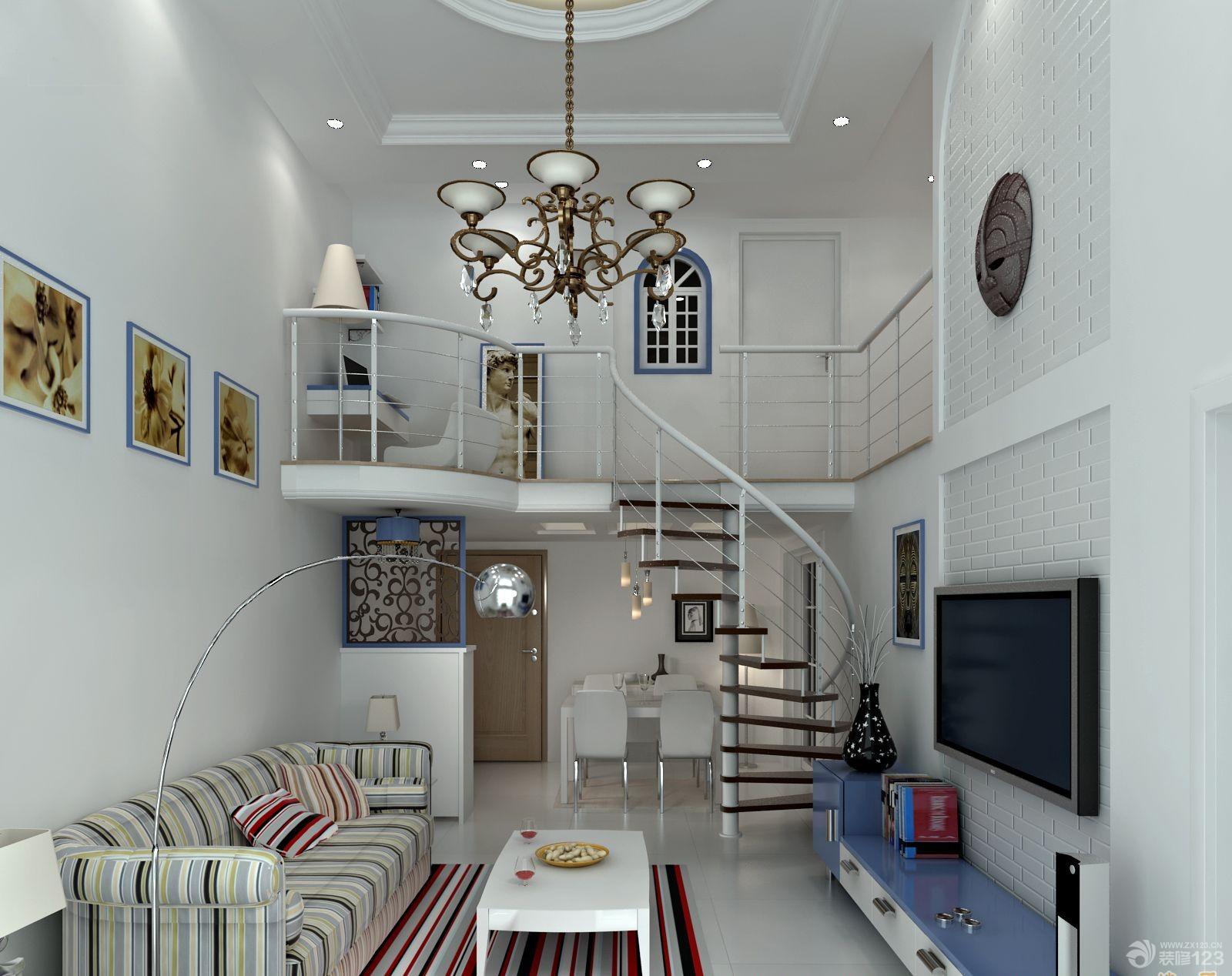 80平挑高复式楼客厅装修设计效果图图片
