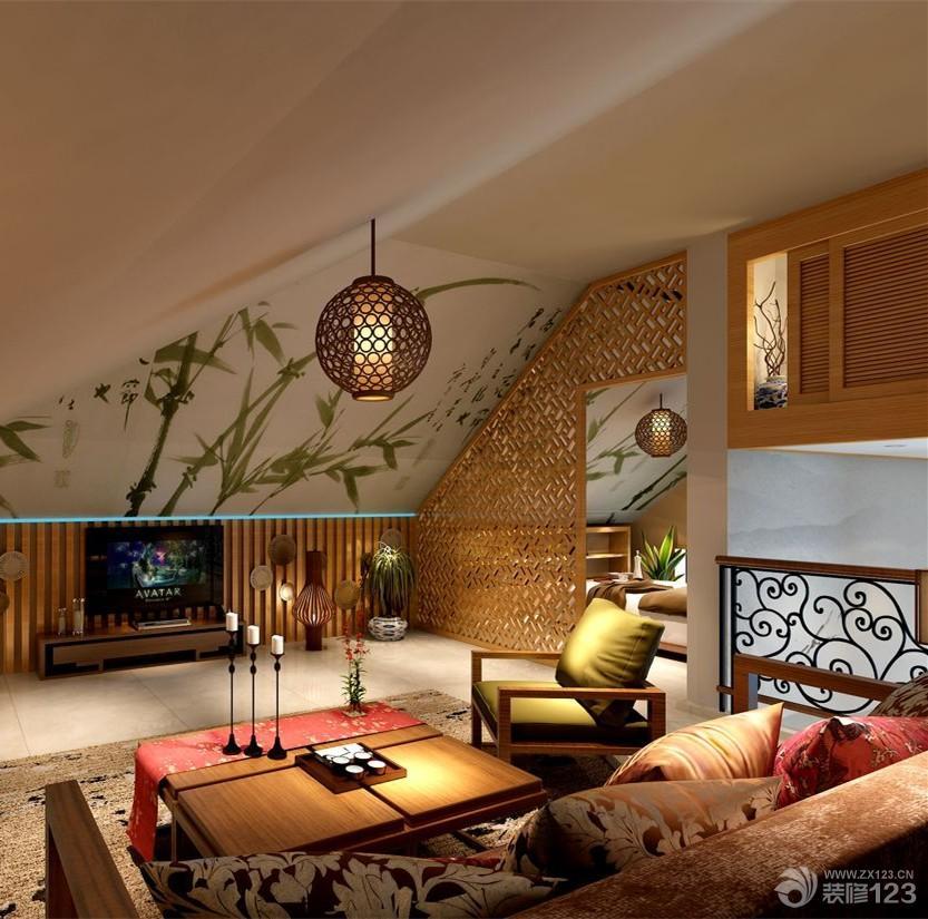 中式风格复式楼客厅电视背景墙装修设计效果图