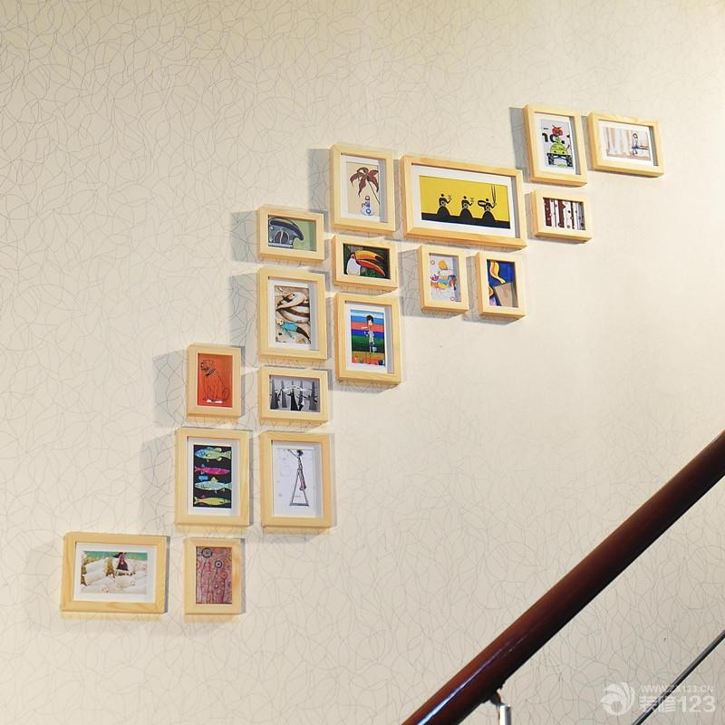 家庭楼梯diy照片墙设计图片欣赏