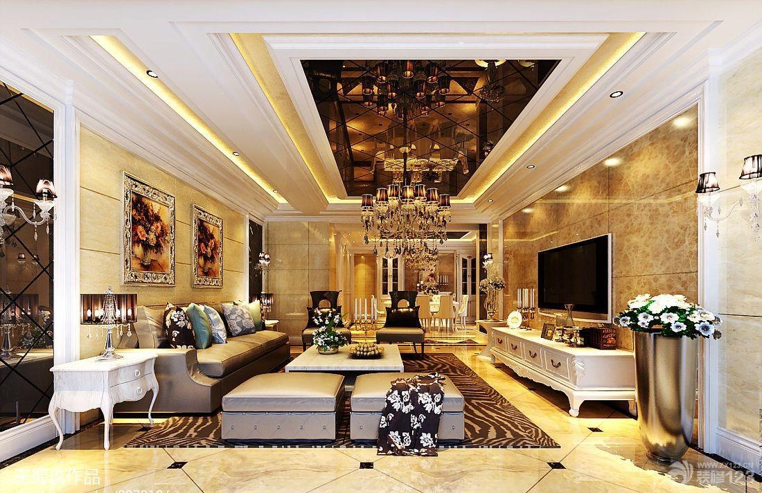 欧式风格180平米别墅室内客厅装修设计效果图图片