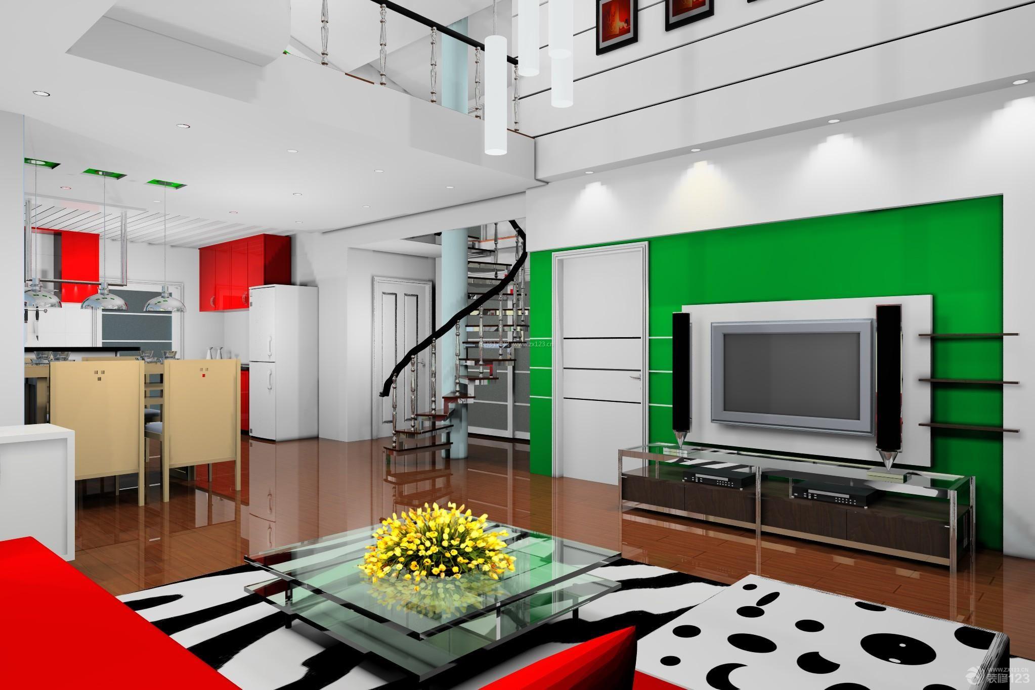 现代风格96平米小户型跃层客厅电视背景墙装修图片