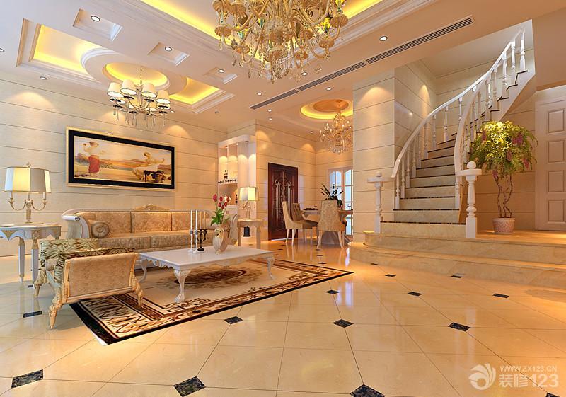 欧式风格客厅仿木地板瓷砖铺贴效果图
