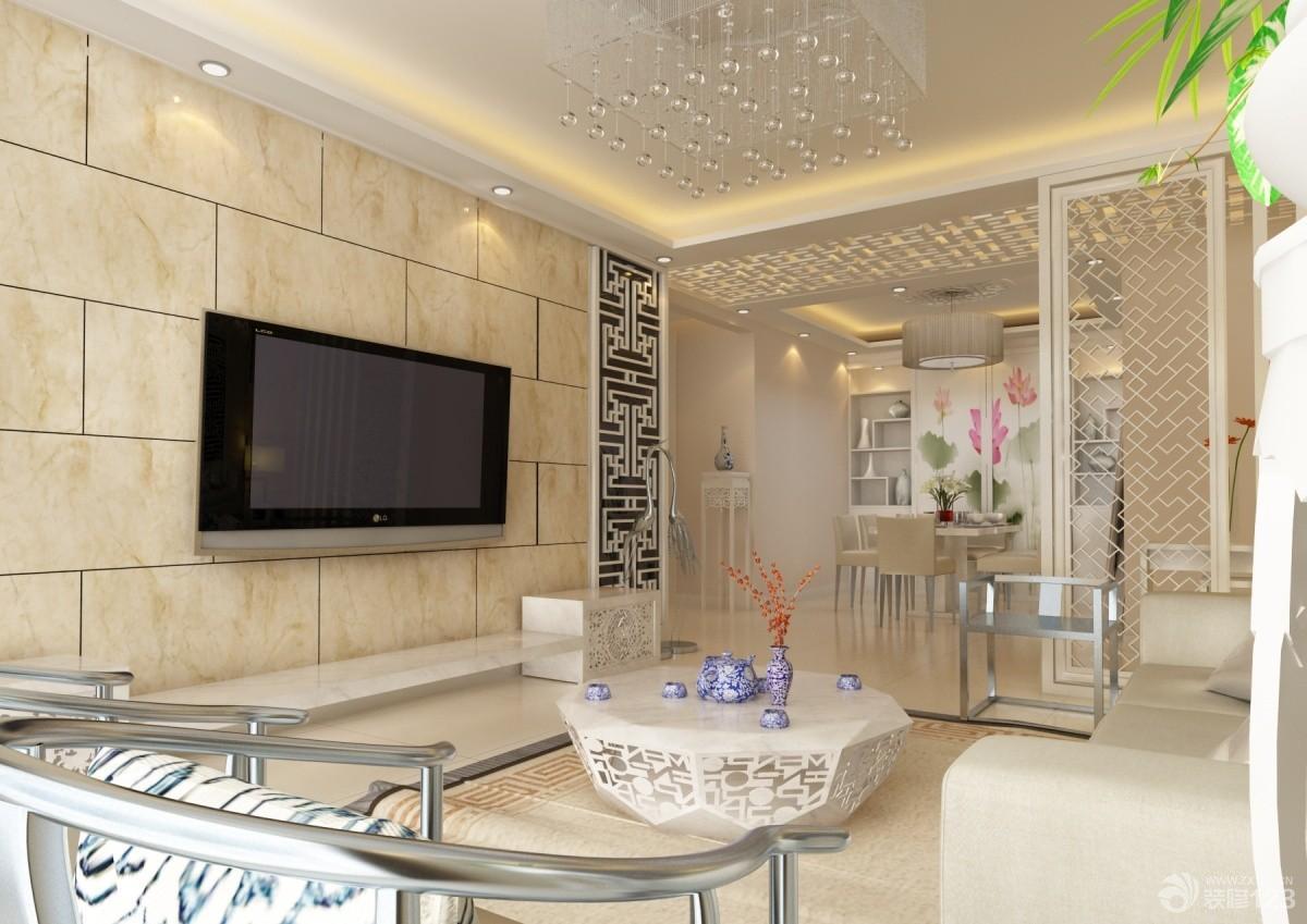 现代米白色仿古瓷砖电视背景墙装修设计效果图