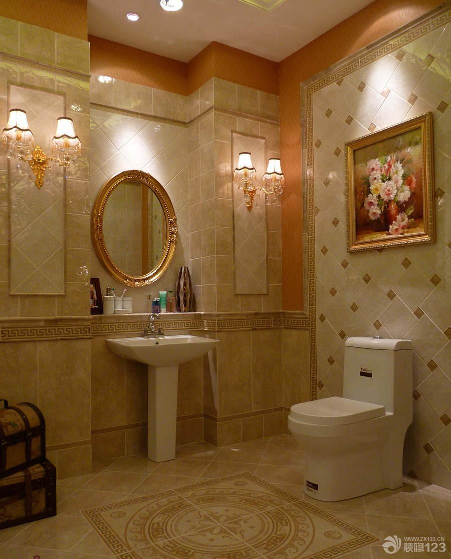 欧式风格卫生间仿古拼花瓷砖装修效果图