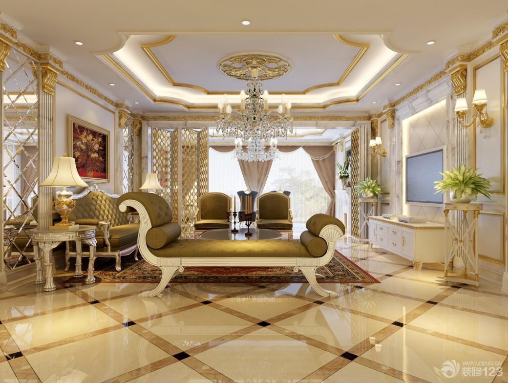 奢华欧式客厅米白色瓷砖拼花效果图图片