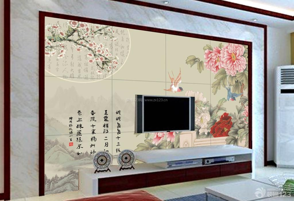 最新中式客厅瓷砖电视背景墙装饰效果图