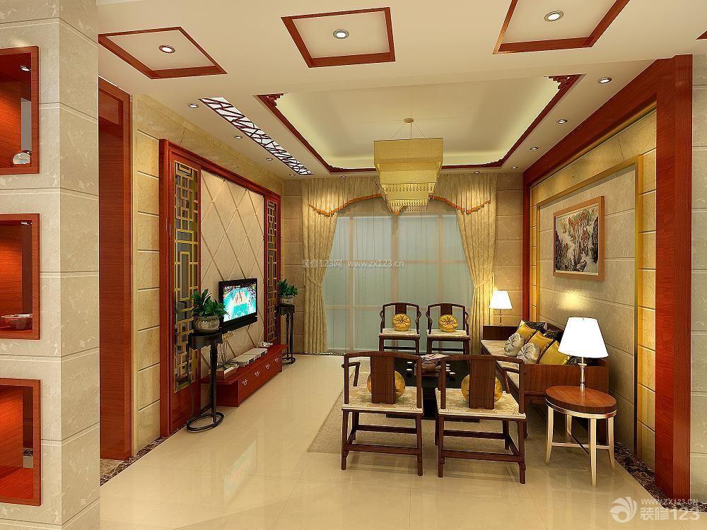 新中式风格家装客厅吊顶效果图图片