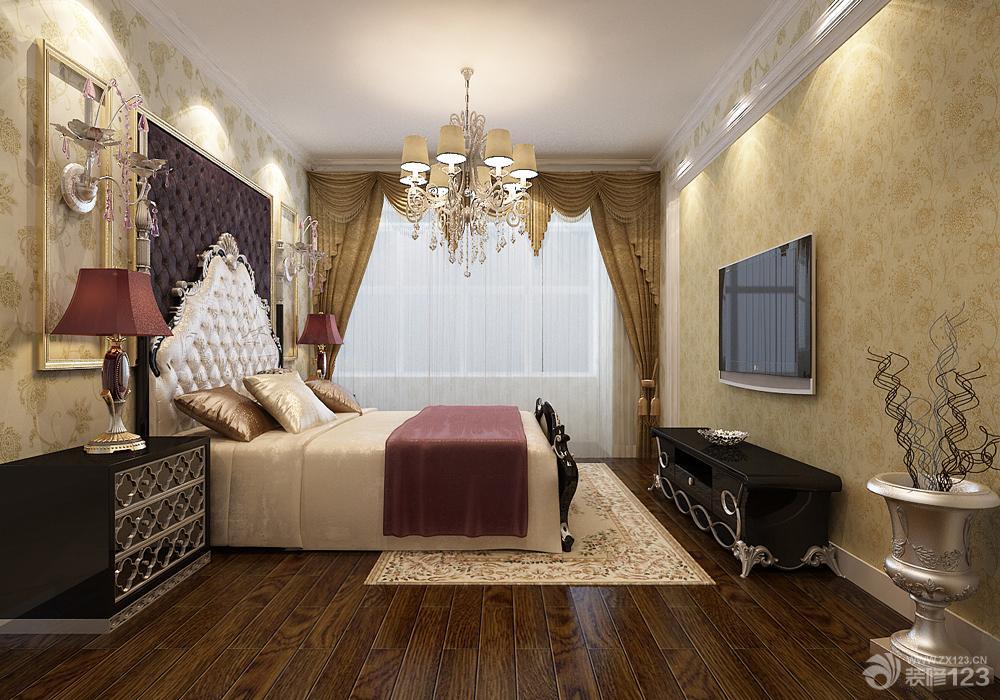 欧式风格主卧室设计图  小户型卧室设计图转角飘窗装修效果图大全2017
