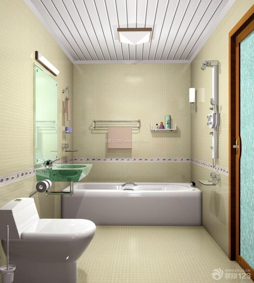 米黄色小卫生间整体瓷砖设计图片