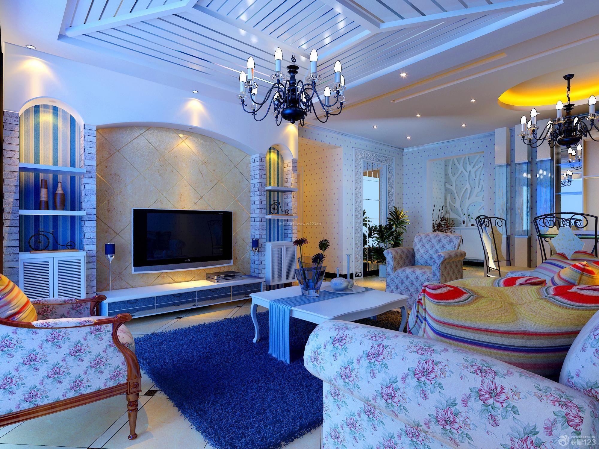 地中海家装客厅吊顶设计图片