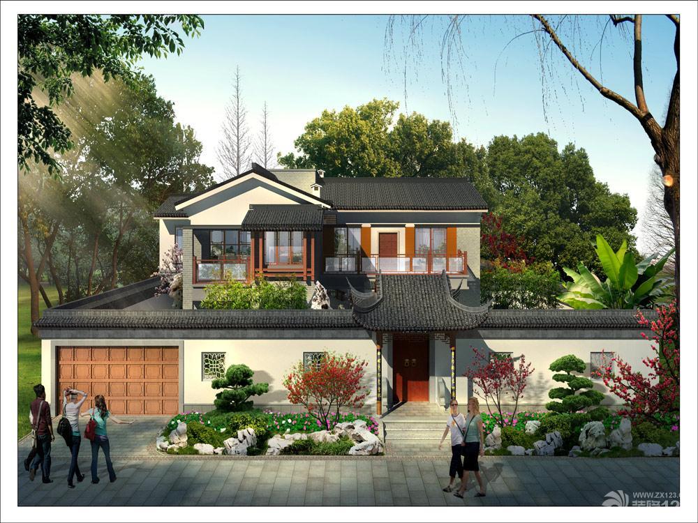 新中式风格别墅外观效果图大全图片