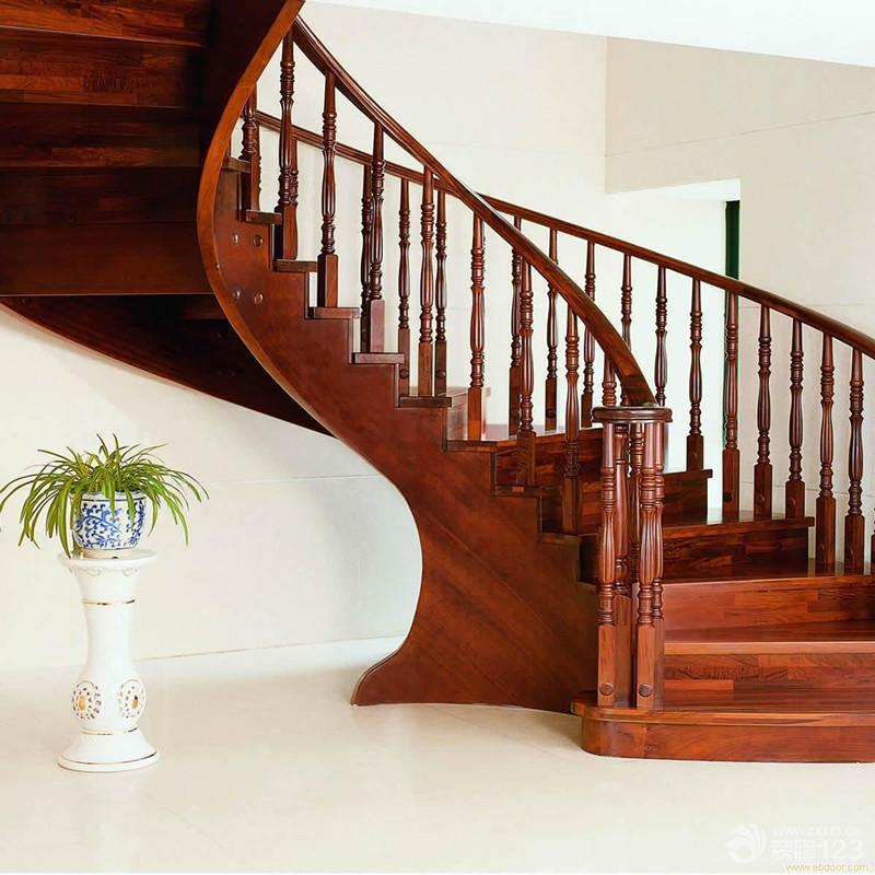 美式风格室内实木楼梯扶手装修图片