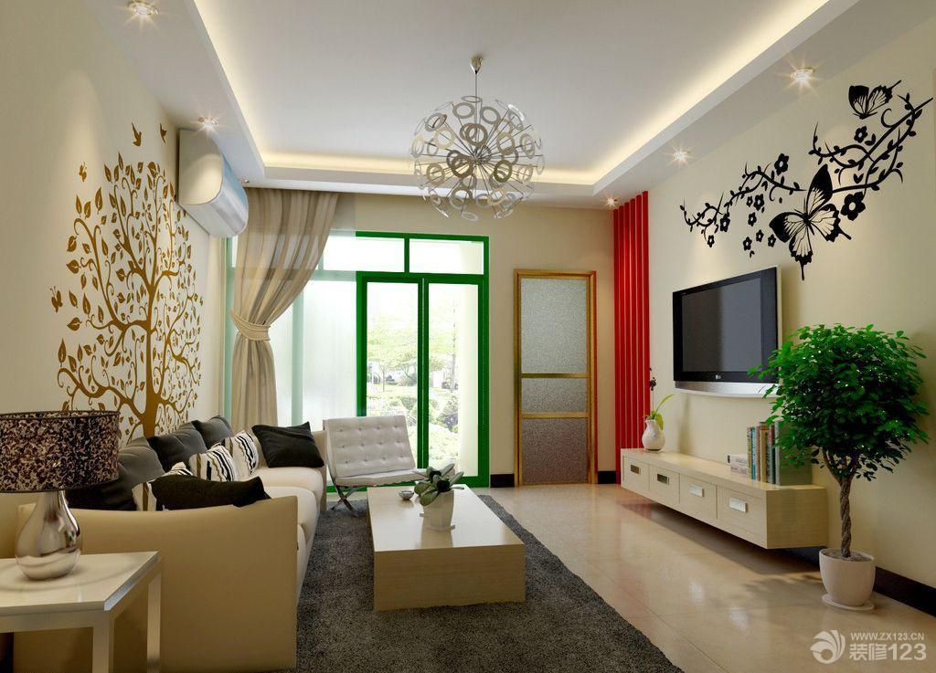 中式黑白手绘电视背景墙图片欣赏_装修123效果图