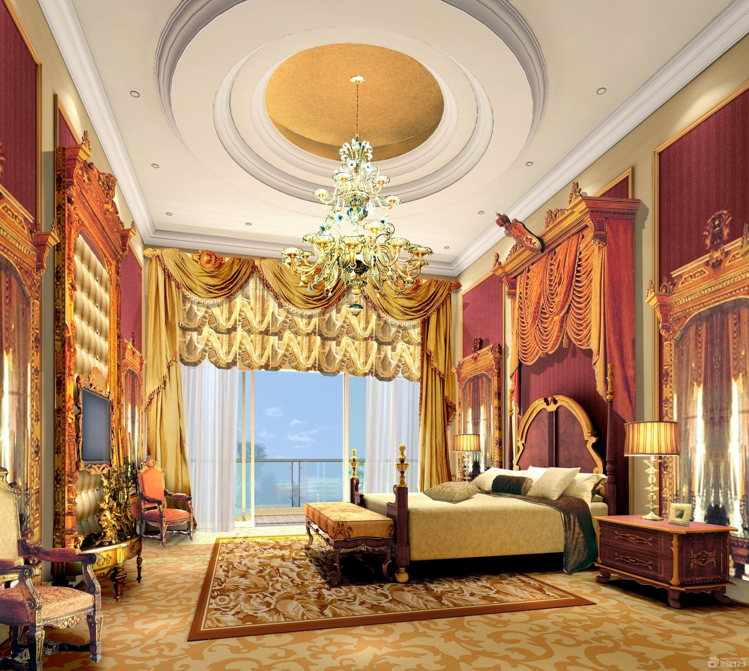 欧式室内装潢豪华别墅大卧室圆形吊顶装修效果图图片