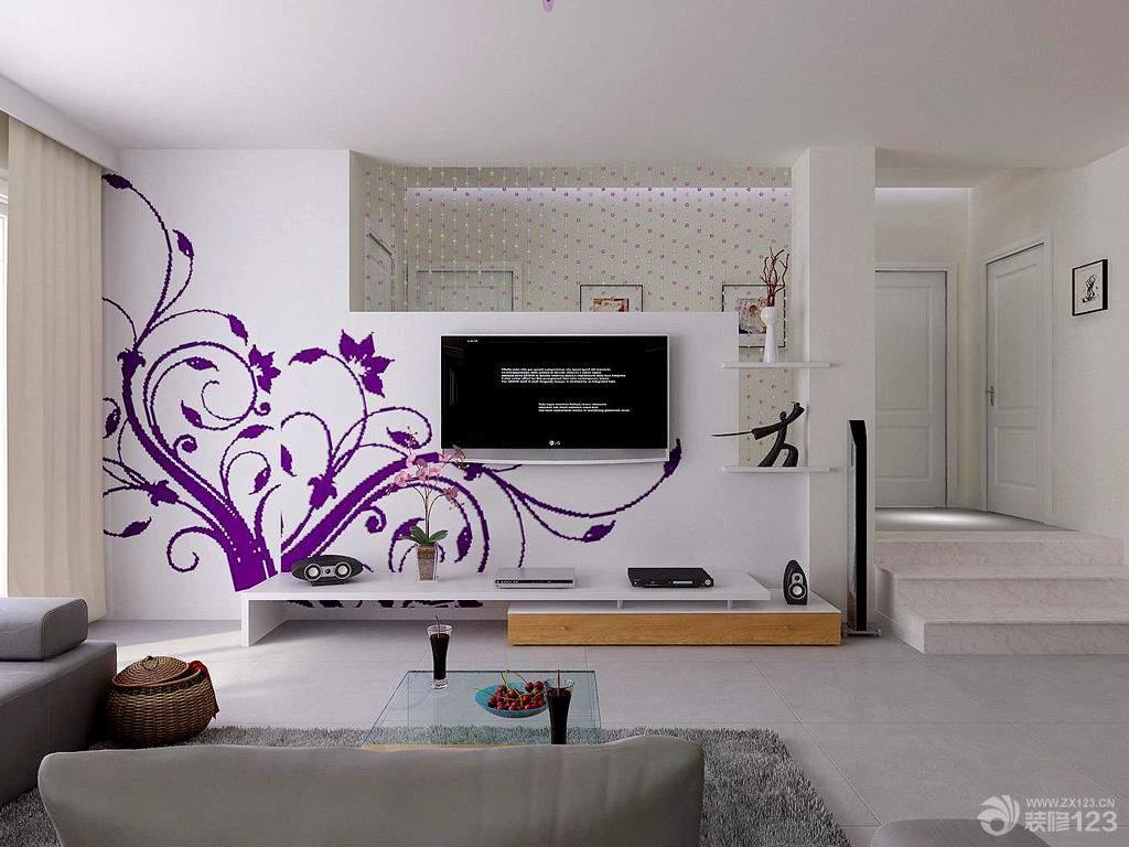 时尚手绘电视背景墙装修设计效果图片