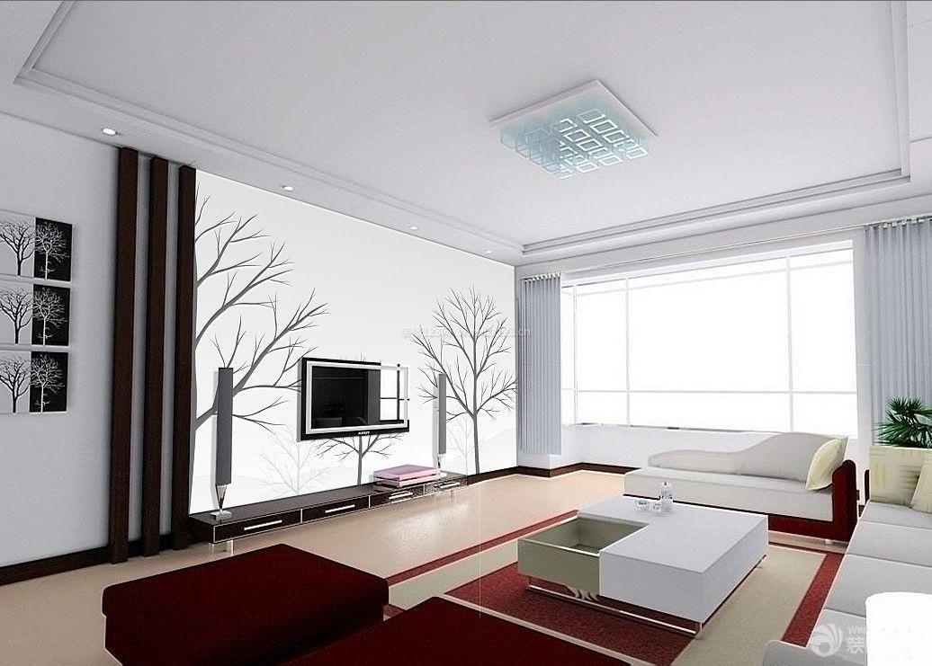 现代简约液体手绘电视背景墙图片