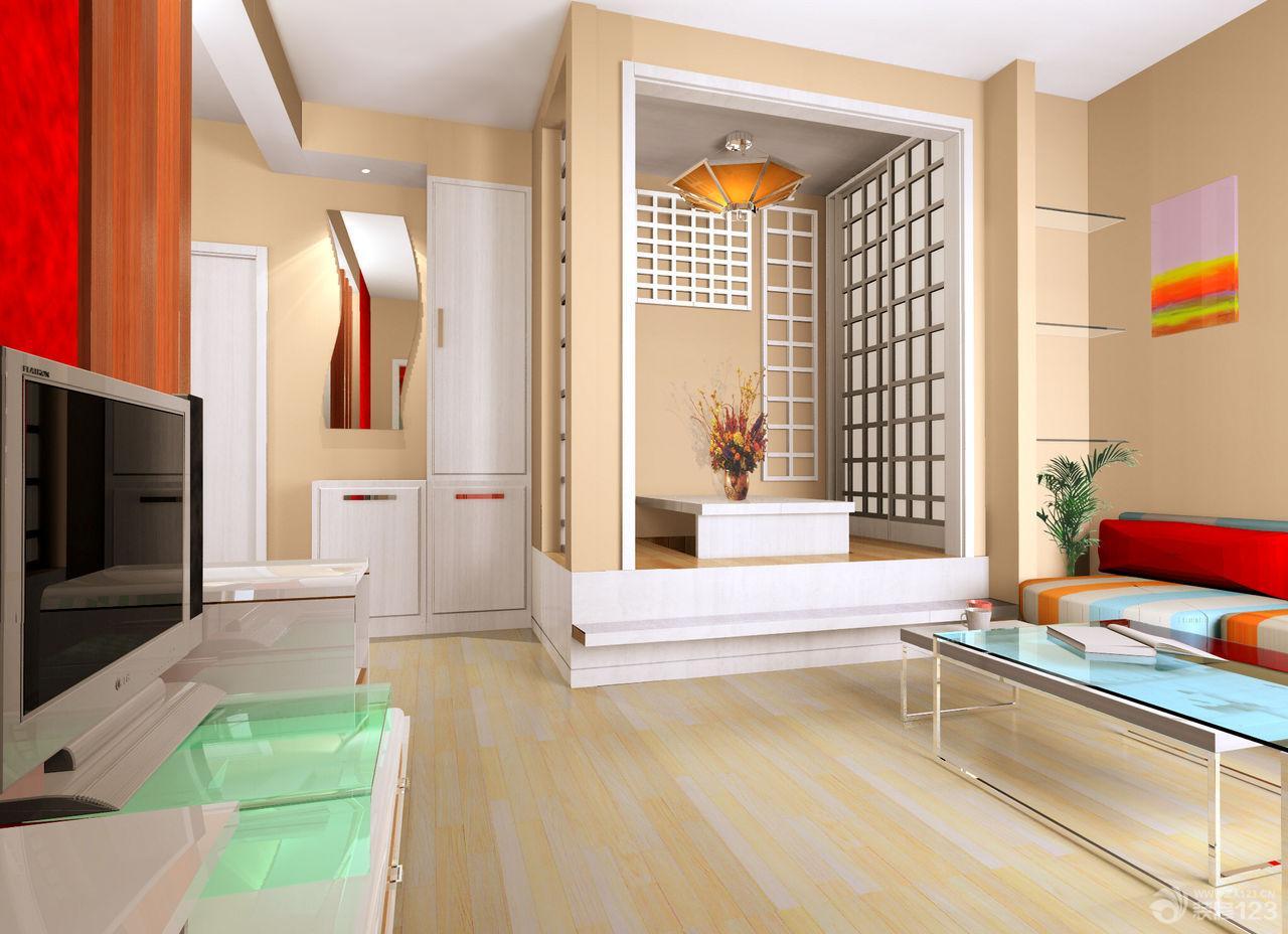 简约日式风格三室两厅客厅装修设计效果图